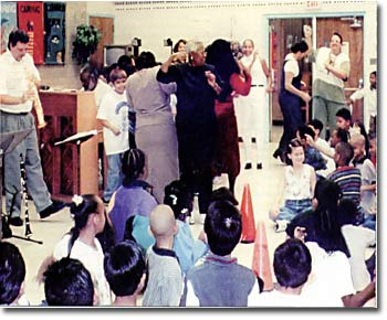 In the schools with students and teachers